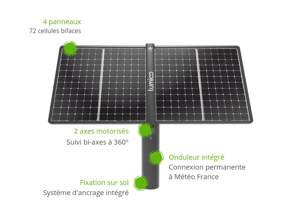 Tracker photovoltaïque Lumioo pour l'autoconsommation solaire