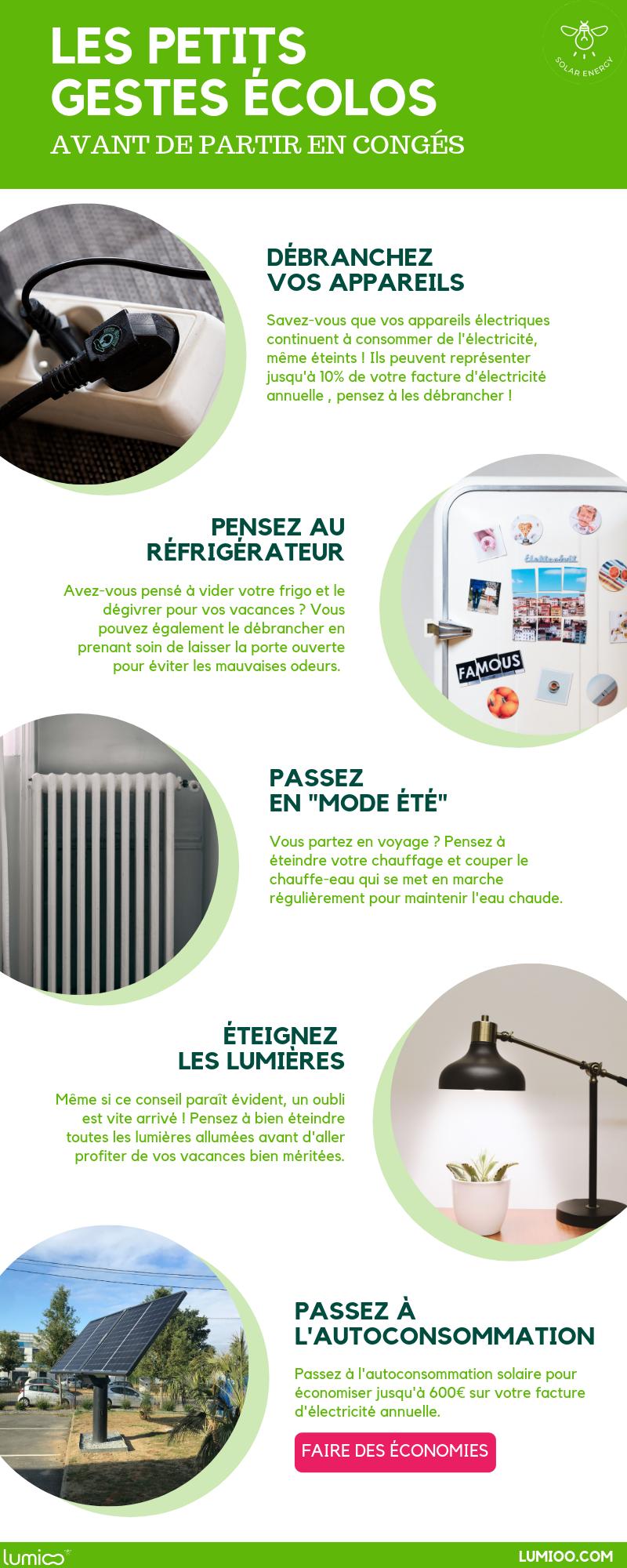 infographie sur les petits gestes ecolos pour réduire sa facture d'électricité en vacances