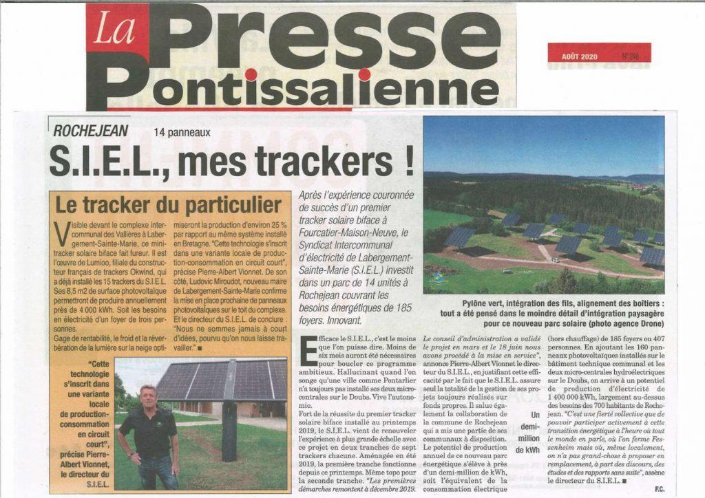 Article Lumioo tracker solaire pour SIEL dans le Doubs