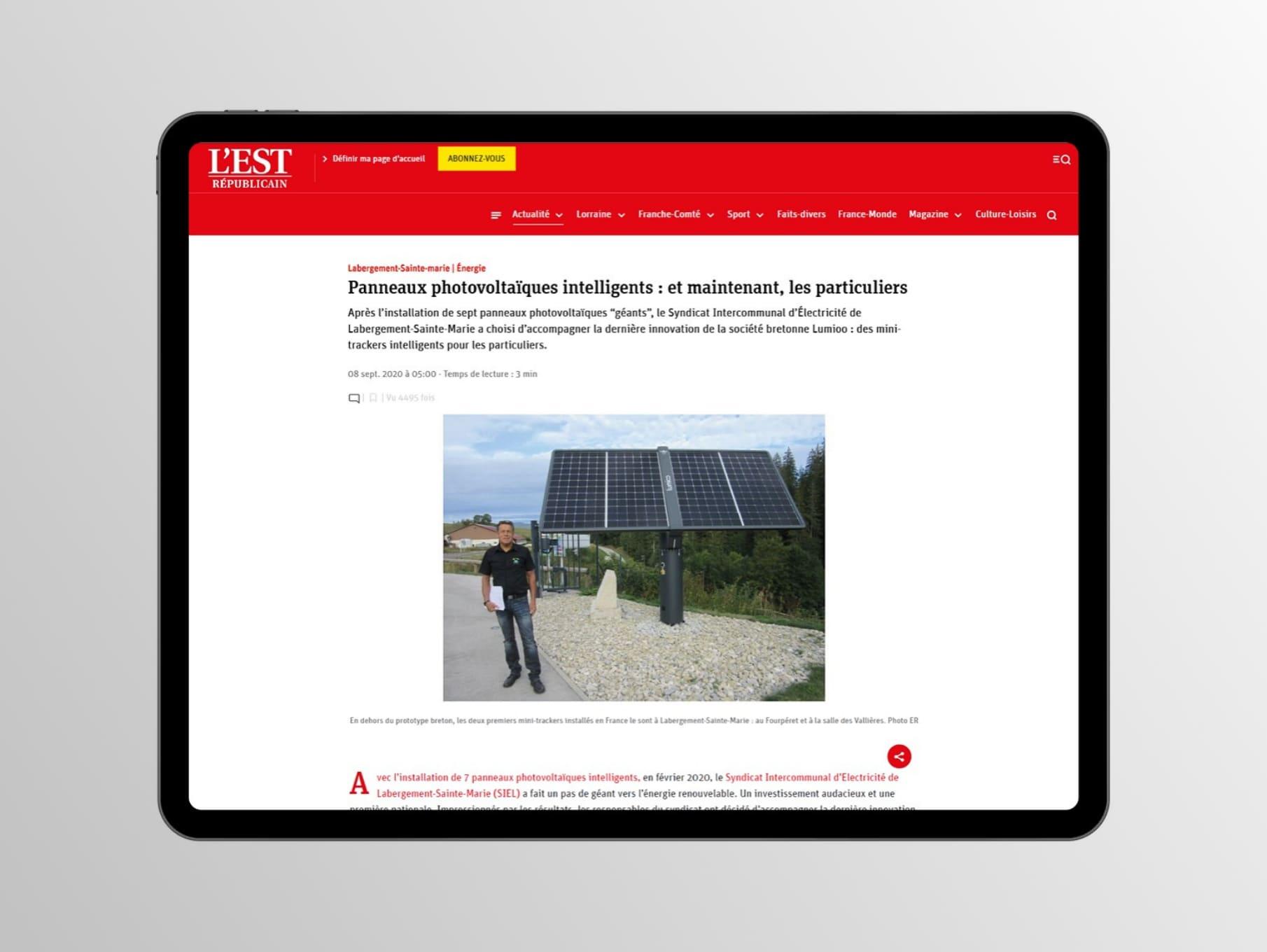 Presse – Les panneaux solaires intelligents Lumioo