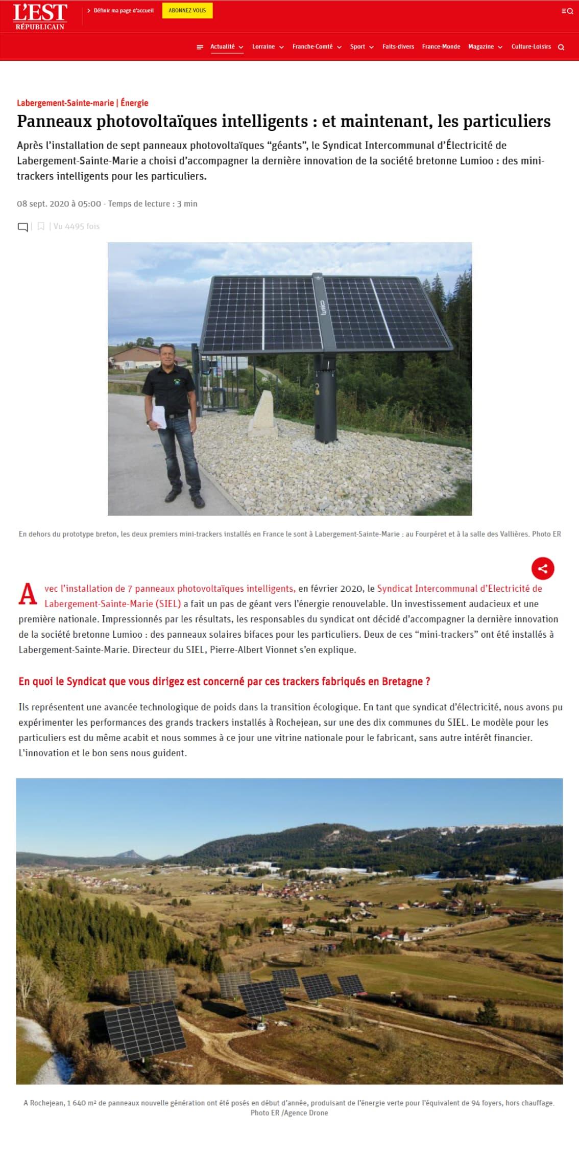Les panneaux solaires intelligents Lumioo dans l'Est Républicain