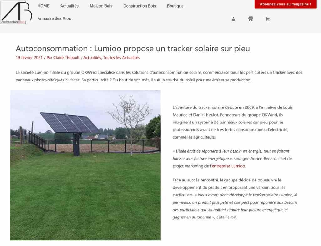 Le tracker solaire Lumioo dans Architecture Bois Magazine page 1