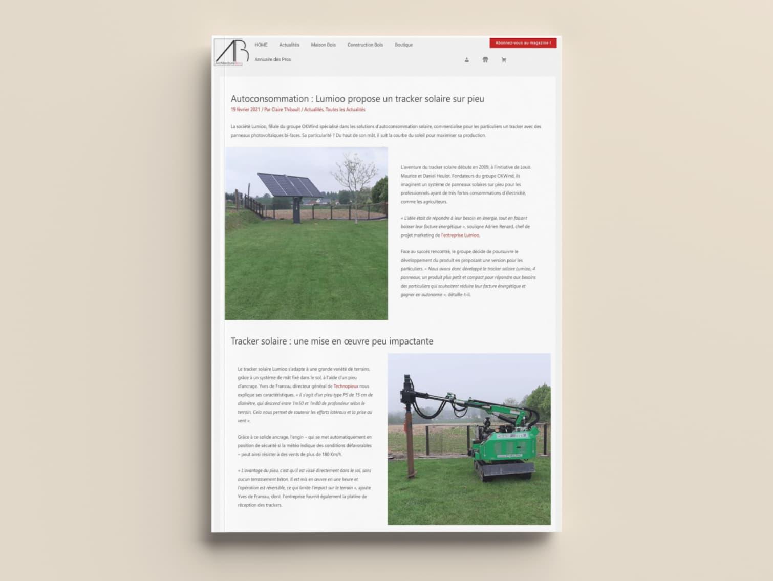 Le tracker solaire Lumioo dans Architecture Bois Magazine