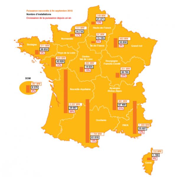 carte de la France qui illustre les raccordements en solaire photovoltaique